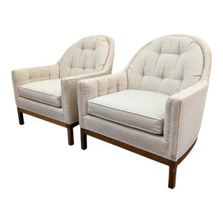 Mid Century High End Tufted Spoon Back Club Chairs- a Pair For Sale