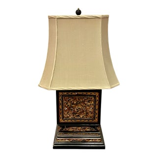 1940s Carved Chinese Box Lamp For Sale