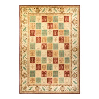 """Eclectic, One-Of-A-Kind Hand-Knotted Area Rug - Red, 10' 1"""" X 14' 9"""" For Sale"""