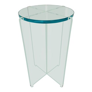 Hollywood Regency Lucite and Glass Occasional Side Table Signed by Jeffrey Bigelow For Sale
