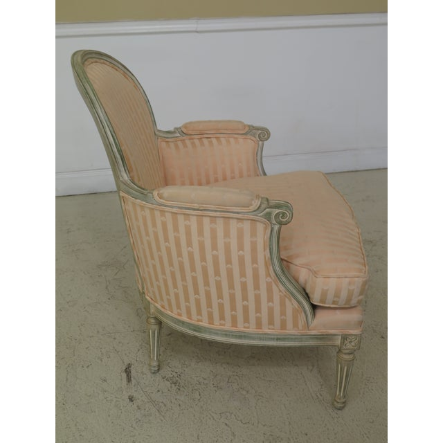 1980s Vintage French Louis XV Style Paint Decorated Bergere Chair For Sale - Image 4 of 12