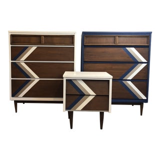 Vintage Bassett Mid Century Chest of Drawers & Night Stand - Set of 3