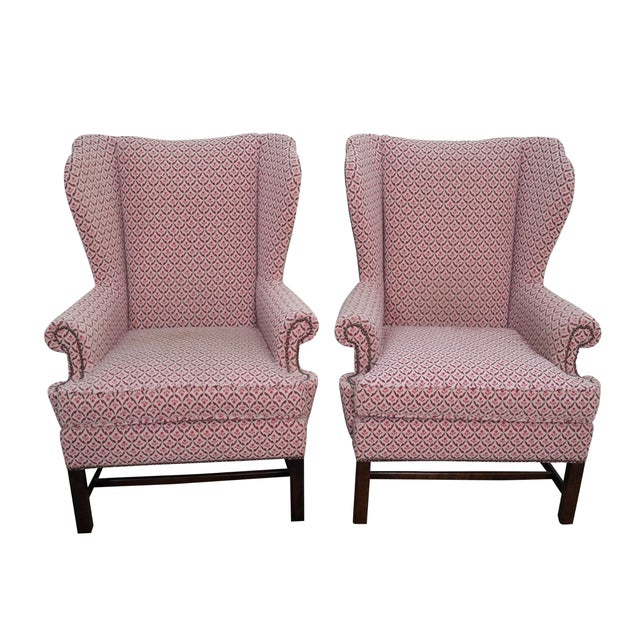 Baker Chippendale Style Wing Chairs - A Pair - Image 1 of 10