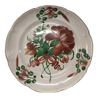 French Hand Painted No. 5 Faience Plate For Sale