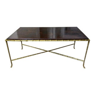 French Chinoiserie Faux Bronze Bamboo Cocktail Table For Sale