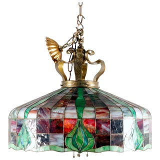 Arts & Crafts Leaded Slag & Stained Glass Mosaic Dome Chandelier, Circa 1910 For Sale