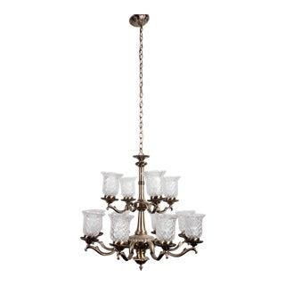 Brass 12-Lamp Chandelier For Sale