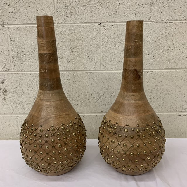 Moroccan Styles Wood & Brass Vases Jugs - a Pair For Sale - Image 13 of 13