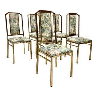 Set of 6 Jc Mahey Chrome Plated Steel Dining Chairs Abstract Upholstery For Sale