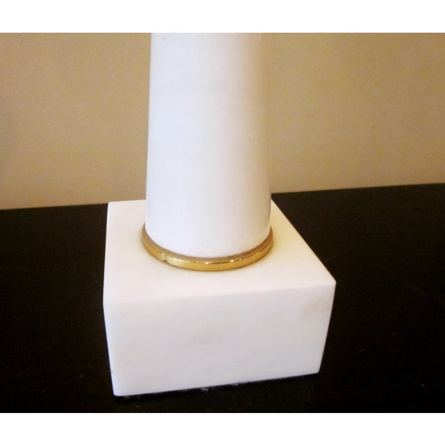 1950s Modernist White Italian Alabaster and Brass Column Boudoir Table Lamps For Sale - Image 9 of 12
