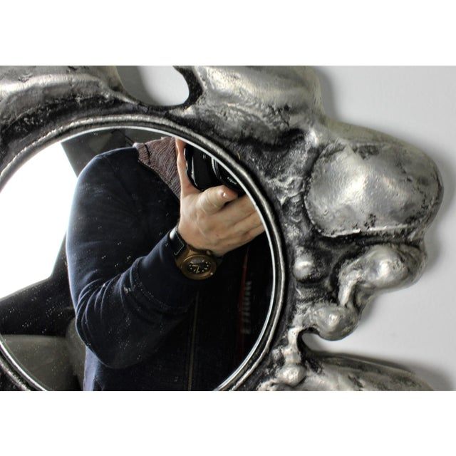 1970s Donald Drumm Brutalist Cast Aluminum Wall Mirror - Image 4 of 5