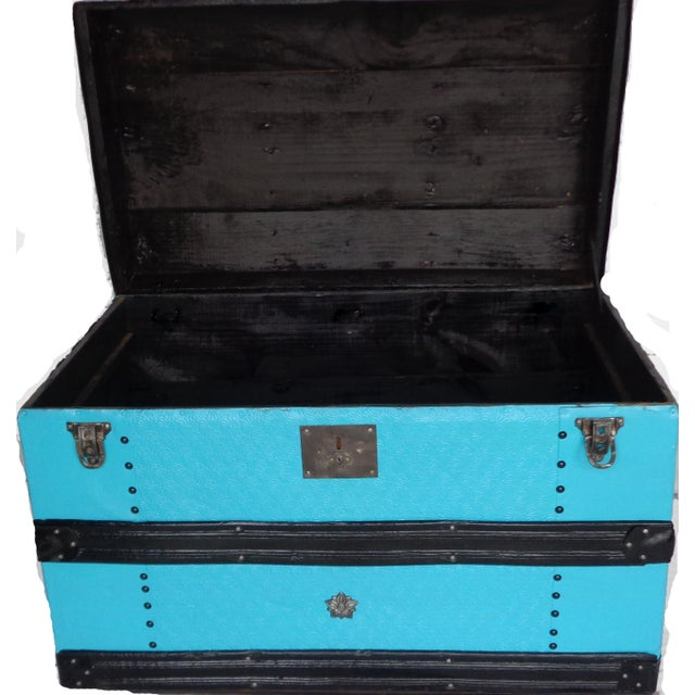 1900s Metal Covered Turquoise Antique Curve Top Trunk For Sale - Image 5 of 5