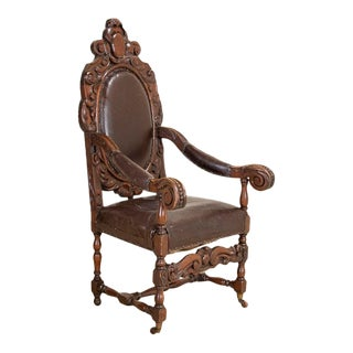 Antique Heavily Carved Arm Chair For Sale