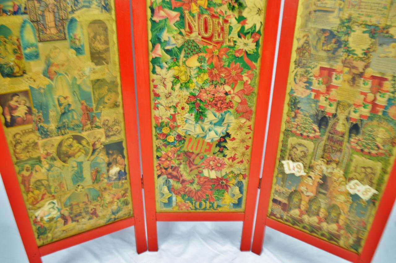 Vintage Victorian Style 3 Panel Christmas Decoupage Folding Screen