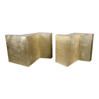 Double Z Dining Table Base (Set of 2) by Robert Kuo, Brass, Hand Repousse, Limited Edition