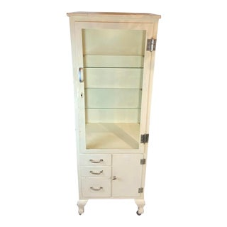 1950s Mid Century Metal Medical Cabinet For Sale