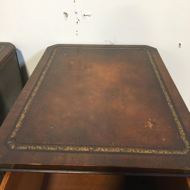 Tooled Leather Topped Side Tables - A Pair - Image 7 of 8
