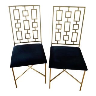 Worlds Away Regency Tetris Velvet Dining Chairs - A Pair For Sale