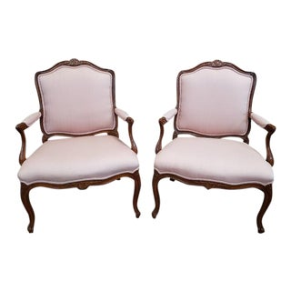 Vintage Glazed Walnut & Upholstered Arm Chairs - a Pair For Sale