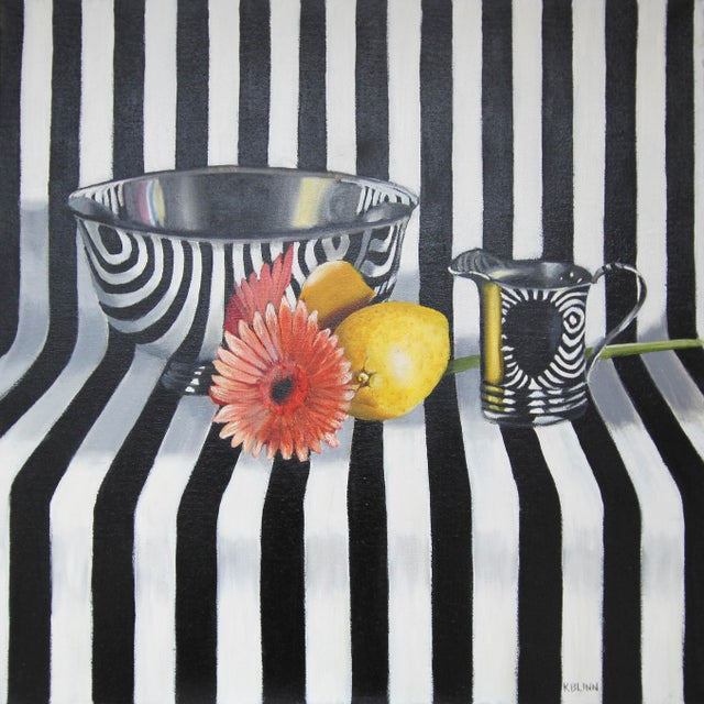 "Kathi Blinn ""Pinstripes and Posies"" Contemporary Still-Life Acrylic Painting For Sale"