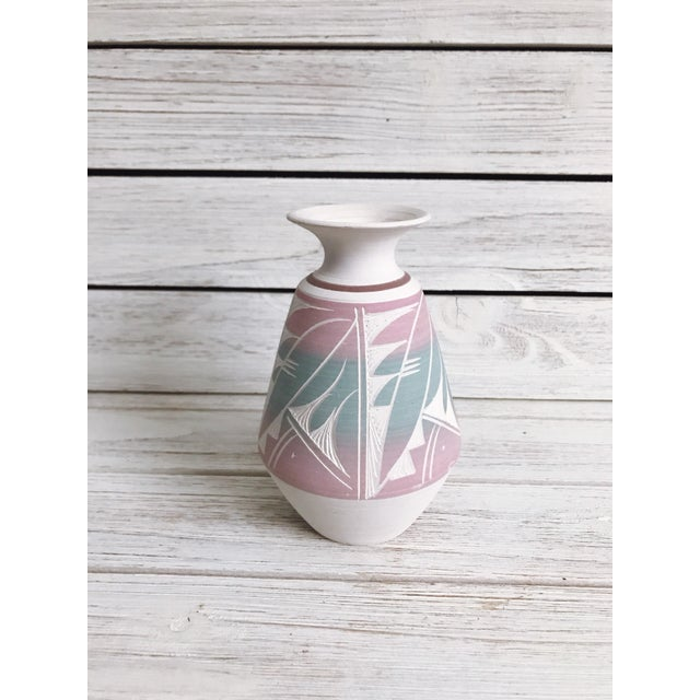 1980s Southwestern Etched Pottery Vase For Sale - Image 5 of 8