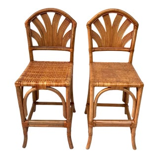 Vintage Mid-Century Wicker Rattan Bentwood Bar Stools- A Pair For Sale