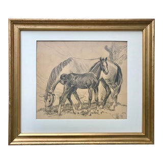Vintage Drawing Horse Mare and Foal 1945 For Sale