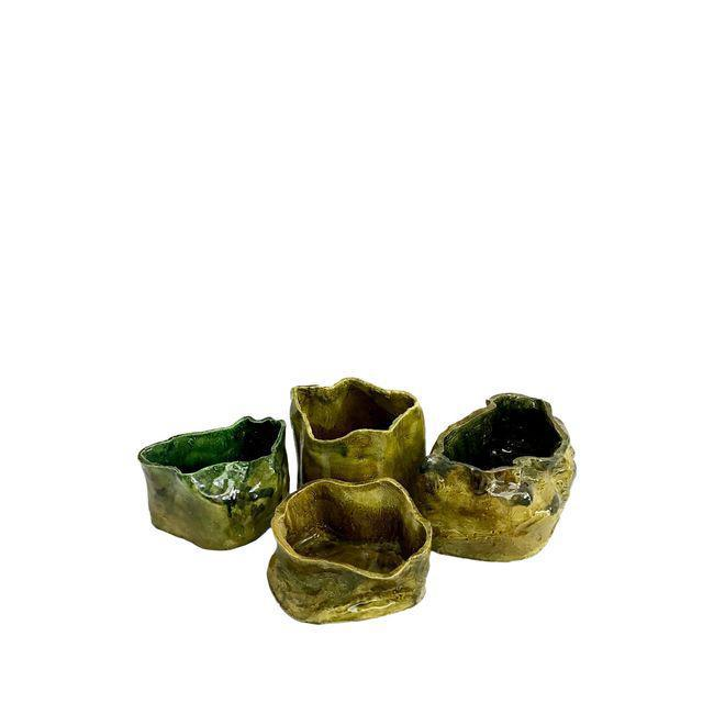 Olive Green Abstract Ceramic Pots - Image 2 of 7