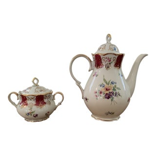 Vintage Zeh Scherzer Gold Trimmed Teapot and Sugar Bowl - a Pair For Sale