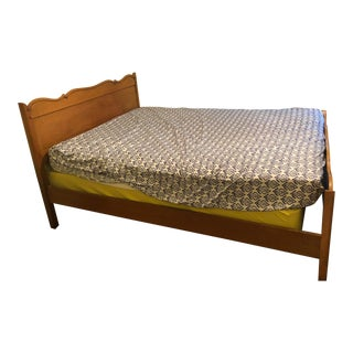Mid-Century Beechwood Double Bed Frame For Sale
