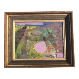 Vintage Original Abstract Painting 1970's Modernist Frame For Sale