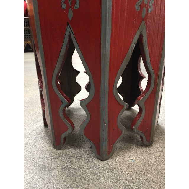 Pair of Hand-Painted Moroccan Pedestal Octagonal Shape Table With Moorish Arches For Sale - Image 11 of 13