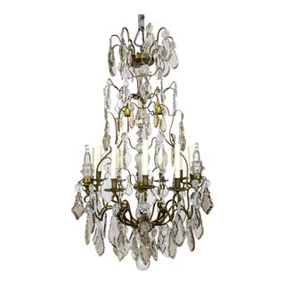 Belle Epoque Tall Bronze 21-Light Chandelier W/ Smoke & Mauve Crystals For Sale