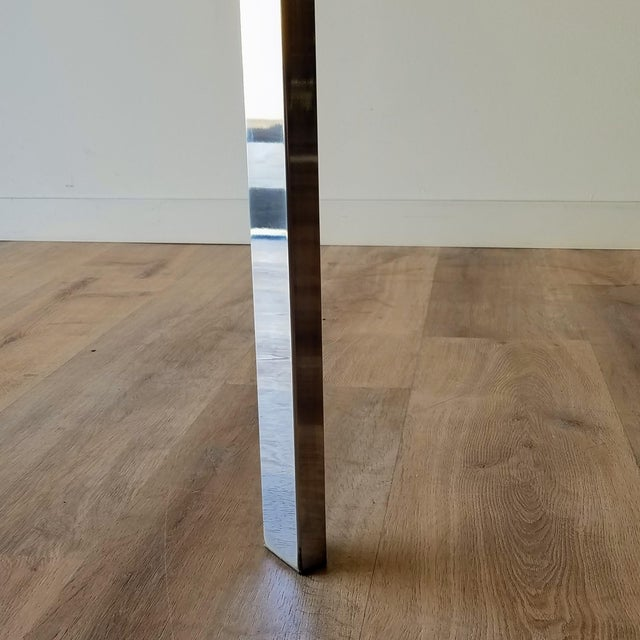 Chrome 1970s Milo Baughman Square Chrome and Smoked Glass Dining Table For Sale - Image 8 of 12