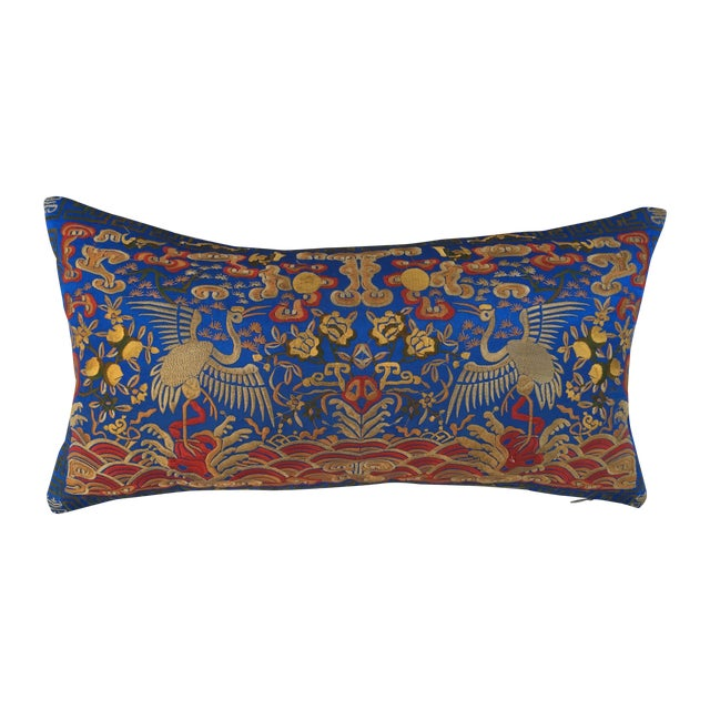 Chinoiserie Silk Crane Boudoir Pillow - Image 1 of 7