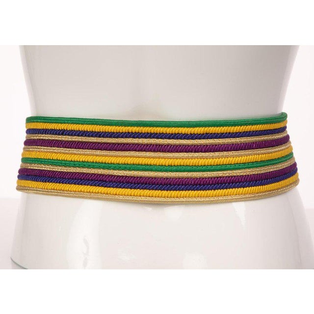 Modern 1980s Yves Saint Laurent Vintage Ysl Multicolored Passementerie Gold Belt For Sale - Image 3 of 6
