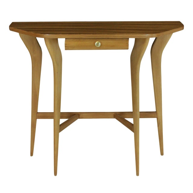 A Stylish Italian Console Table in Pale Wood For Sale