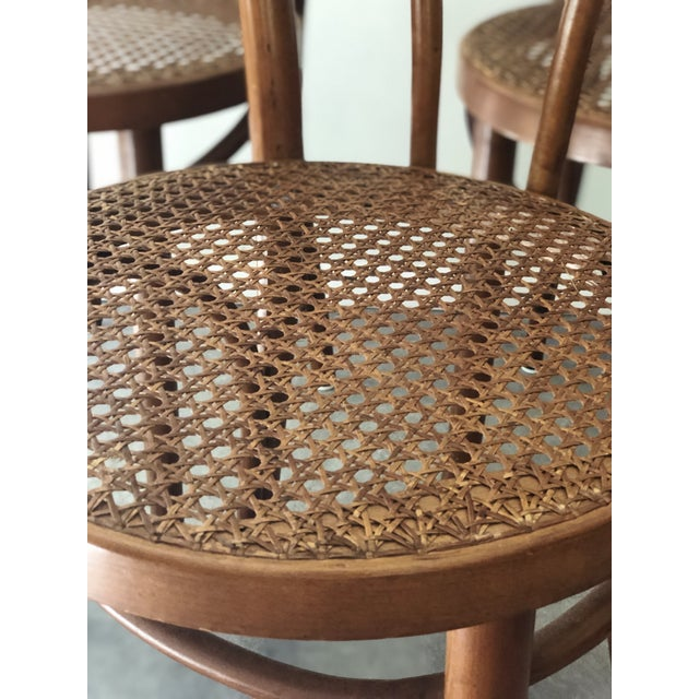 Early 20th Century Vintage Thonet Sweetheart Bentwood Cane Bistro Cafe Chairs--Set of 4 For Sale - Image 5 of 9