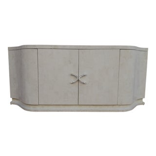 Marquis Collection Postmodern Tessellated Stone Buffet With French Deco Form and Mother of Pearl Accents For Sale