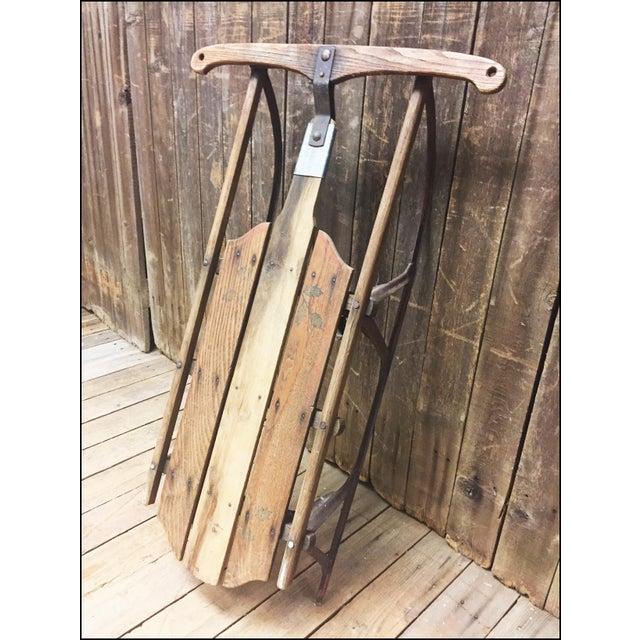 Vintage Wood & Metal Runner Sled - Image 2 of 11