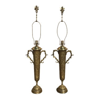 Indian Bronze Lamps - A Pair