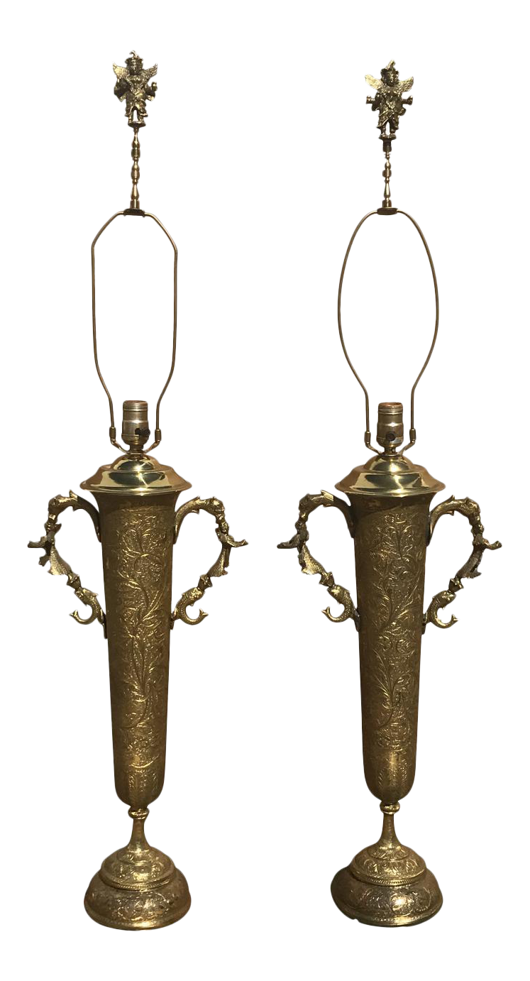Indian Bronze Lamps   A Pair