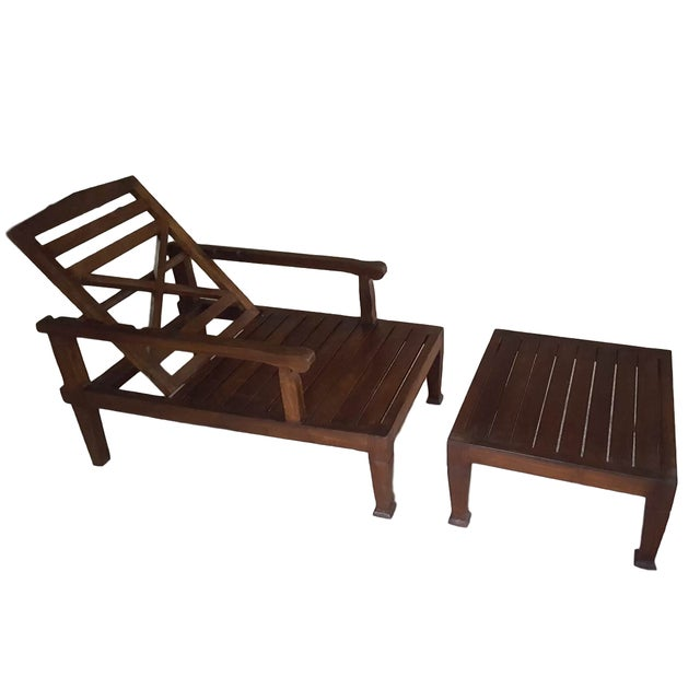 Teak Wood Reclining Luxury Lounger With Ottoman For Sale