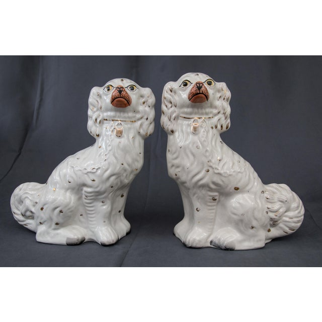 Large Antique English Staffordshire Spaniel Dogs - a Pair For Sale - Image 10 of 10