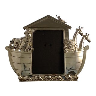 Vintage Silver Plated Picture Frame. Noah's Ark Photo Frame