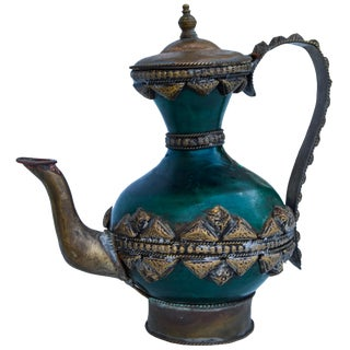 Antique Moroccan Brass Ceramic Teapot For Sale