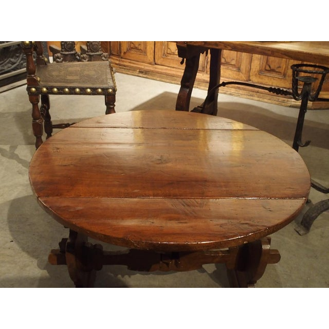 Wood Pair of Antique Walnut Drop Leaf Side Tables From Italy, Circa 1900 For Sale - Image 7 of 12