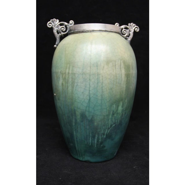 French Art Nouveau Cucumber Glaze Urn With Sterling Rim and Handles Attributed to Eugene Baudin - Image 8 of 8