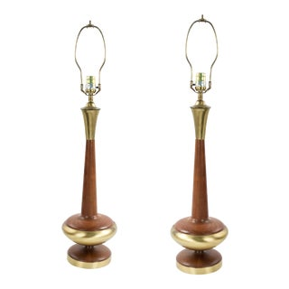 Scandinavian Teak and Brass Table Lamps, Pair For Sale