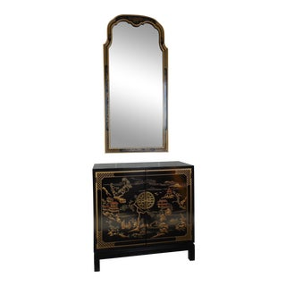 Drexel Et Cetera Black Lacquer Chinoiserie Decorated Console & Mirror